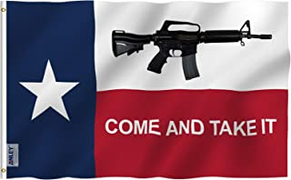 Anley |Fly Breeze| 3x5 Foot Texas Come and Take It Flag - Vivid Color and UV Fade Resistant - Canvas Header and Double Stitched - M4 Carbine Rifle Flags Polyester with Brass Grommets 3 X 5 Ft