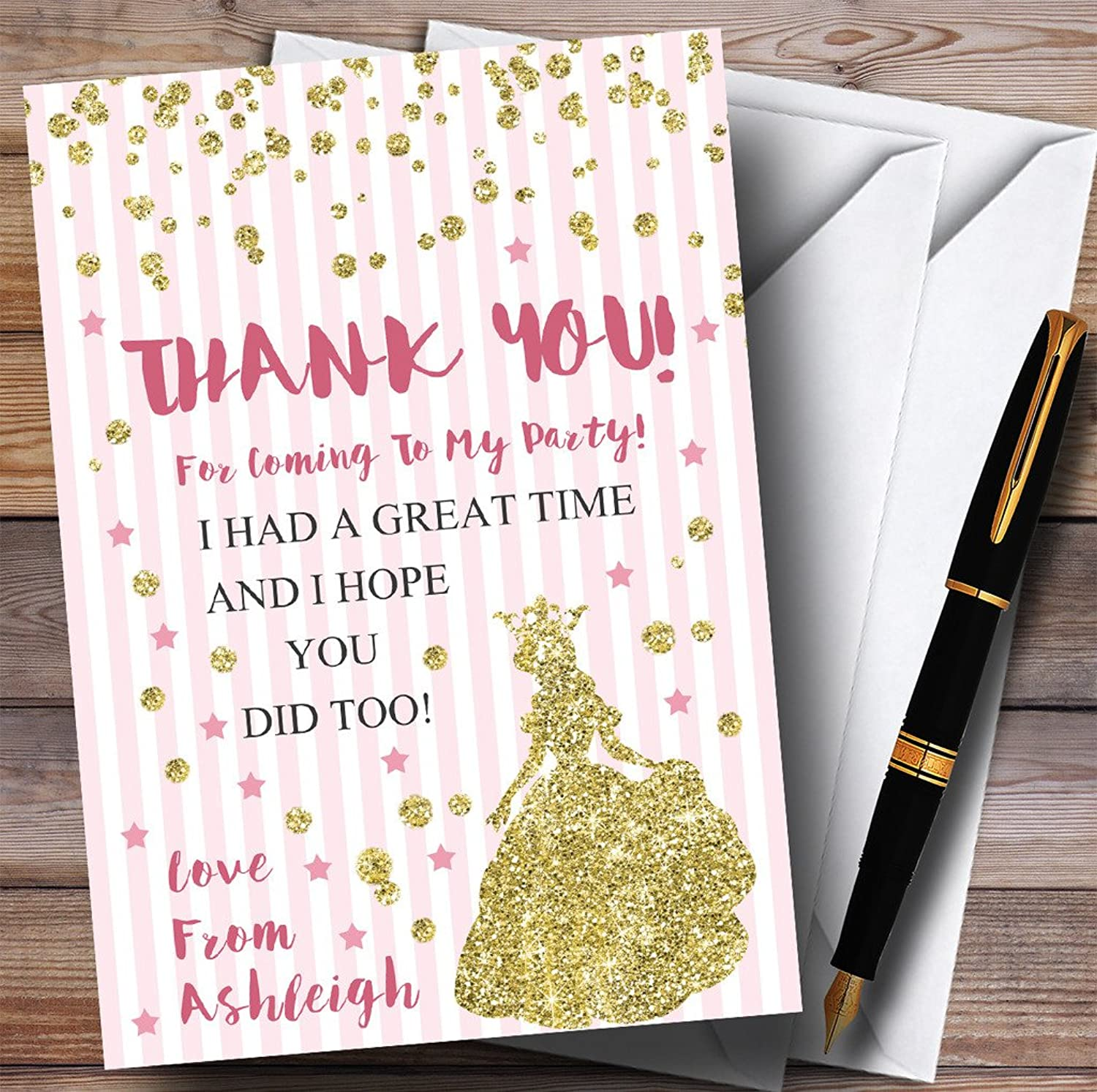 Pink Stripes gold Glitter Princess Party Thank You Cards