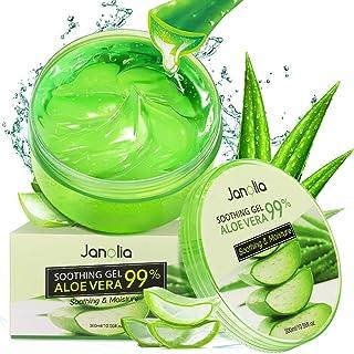 Janolia Gel de Aloe Vera 300g Crema Hidratante con Ácido Hialurónico y Vitamina C Gel Calmante e Hidratante para Pieles...