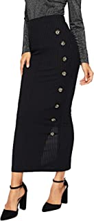 Women's High Waist Button Split Back Ribbed Knit Bodycon Skirt