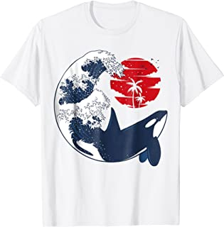 Killer whale wave T-shirt oriental japanese style