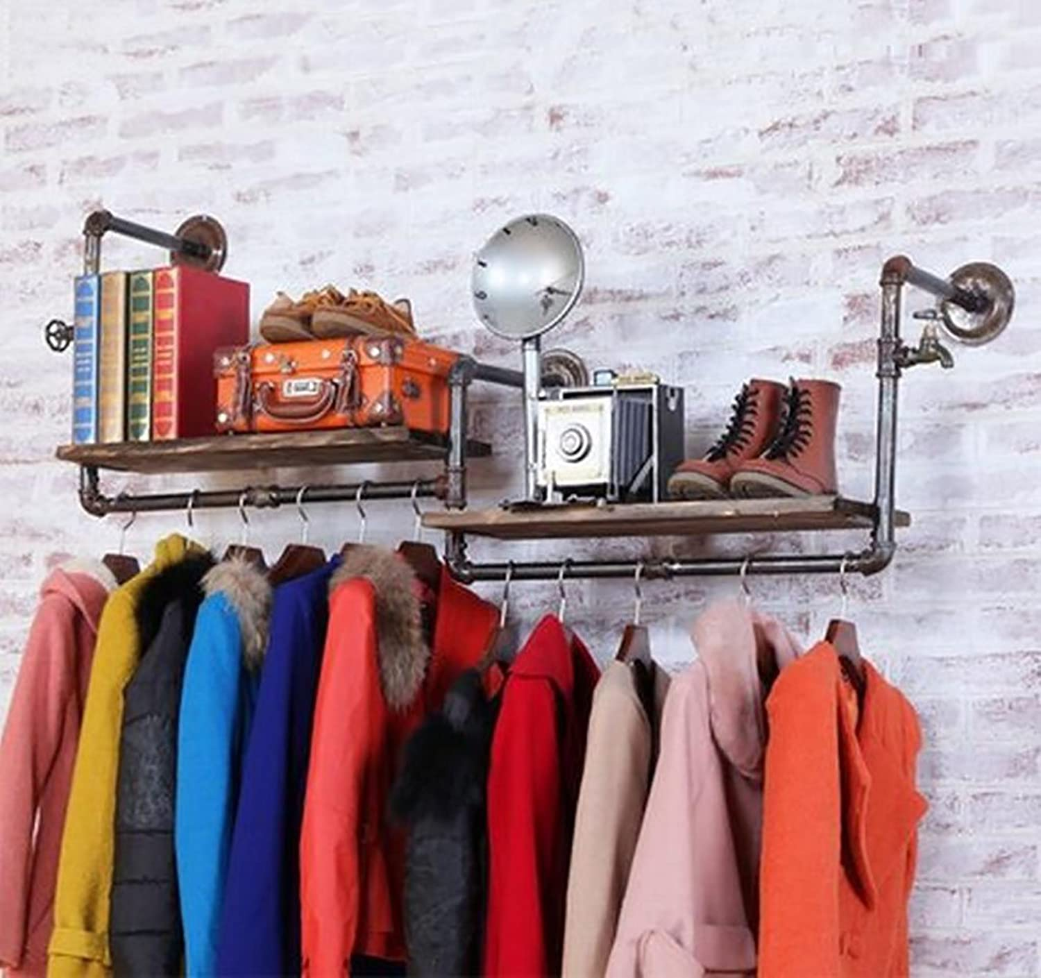 Coat Rack Solid Wood Hanging Clothes Floor-Standing Hangers Single-bar 2 colors 56x46x12cm 22x18.1x4.7 Inch Wall Hanger Haiming (color   Champagne)