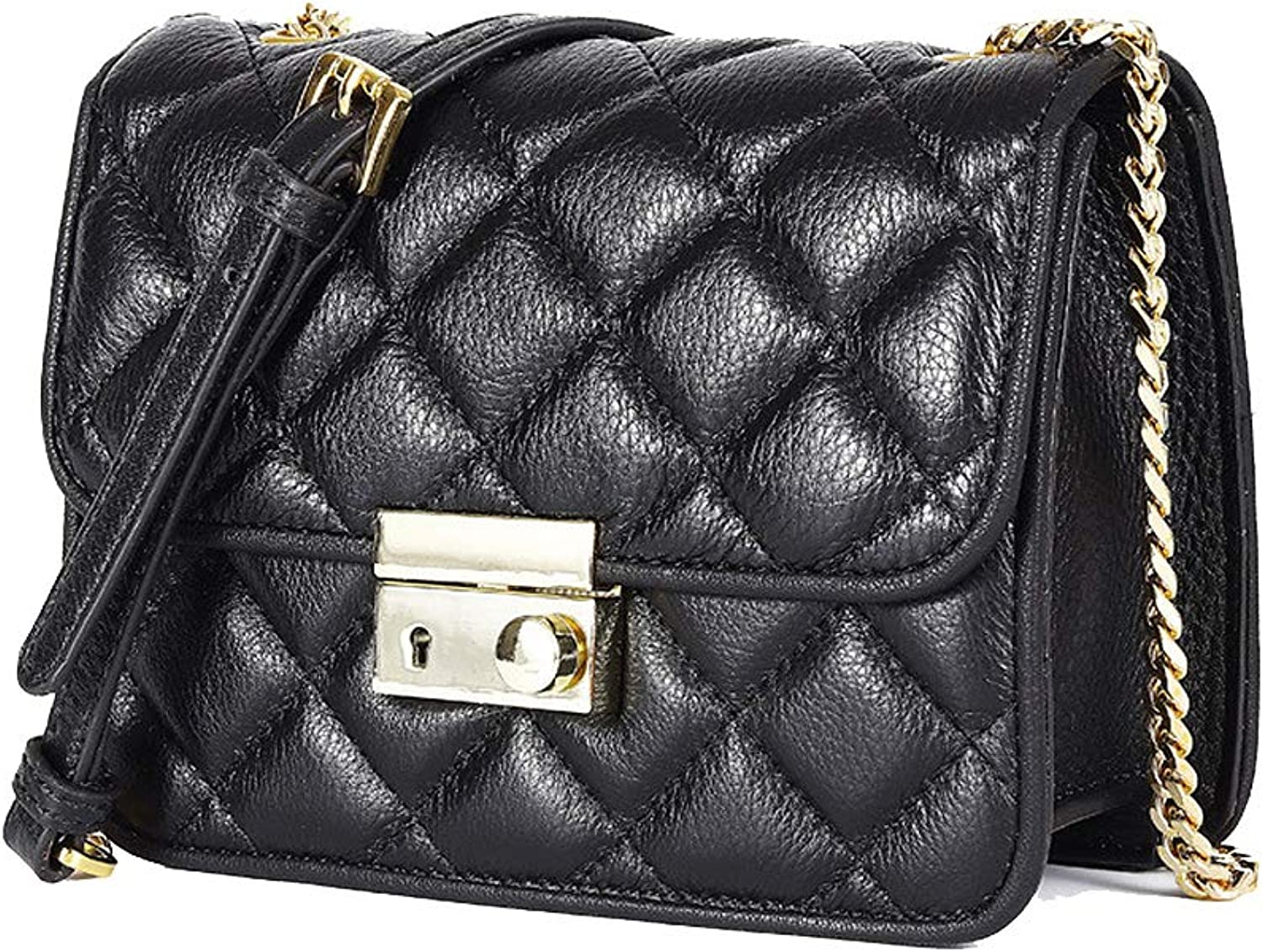 Onzama Women's Genuine Leather Bag Quilted Small Classic Designer Clutches Crossbody Shoulder Purse with Chain