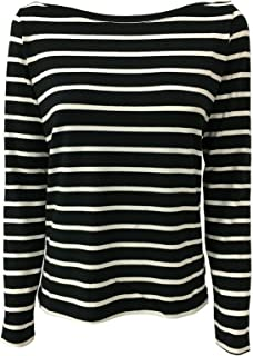 HUMILITY 1949 t-Shirt Donna Collo a Barca Blu/Ecru MOD HA8098 Made in Italy