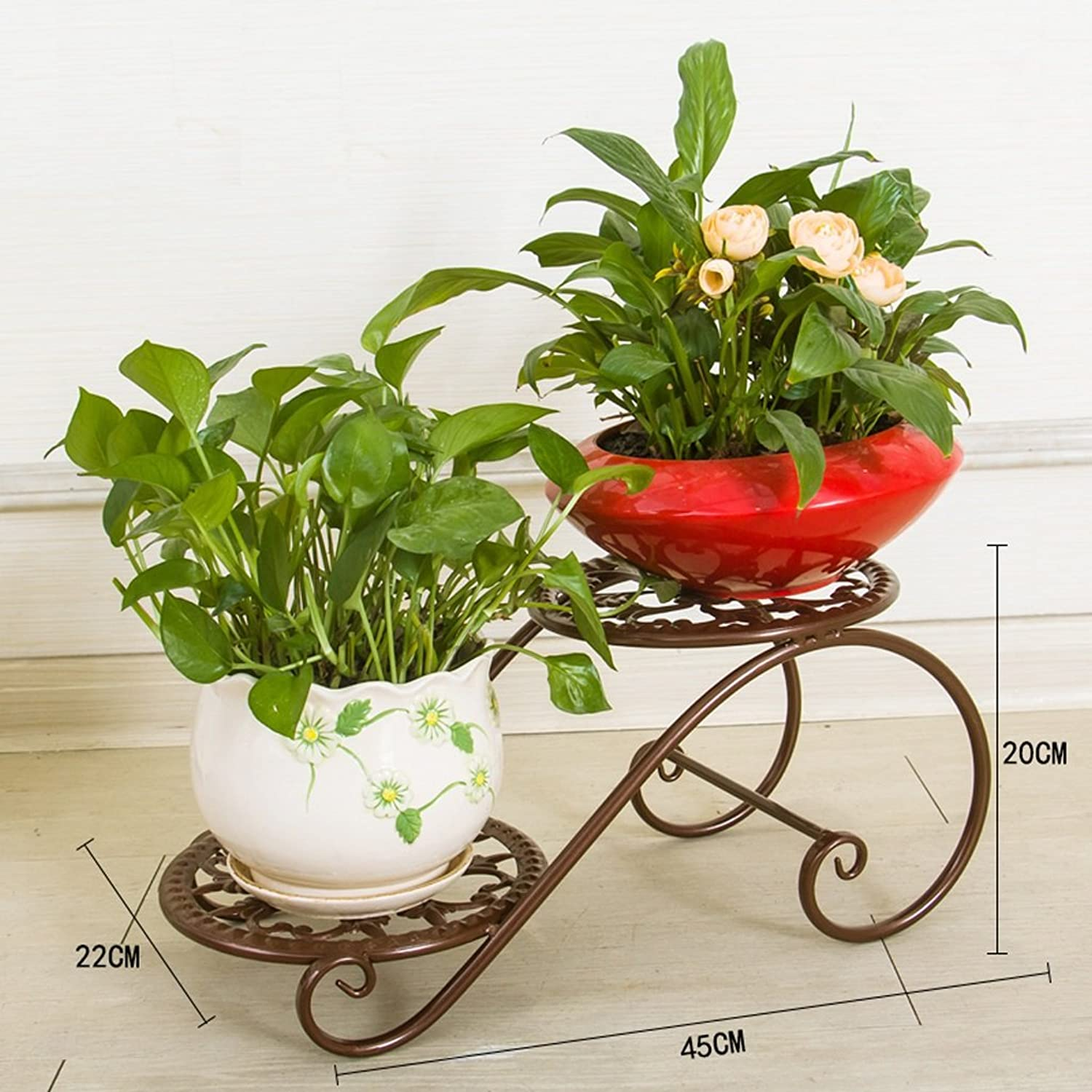 NYDZDM Iron 2 Pot Plant Planter Herbs Flower Stands Indoor and Outdoor Use Vintage Style, 45  22  20cm - 2 Pack Bronze (color   45  22  20cm1 pcs)