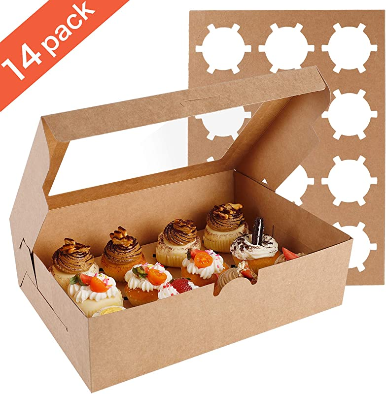 Farielyn X 14 Packs Cupcake Boxes Food Grade Kraft Bakery Boxes With Inserts And Display Windows Fits 12 Cupcakes Or Muffins