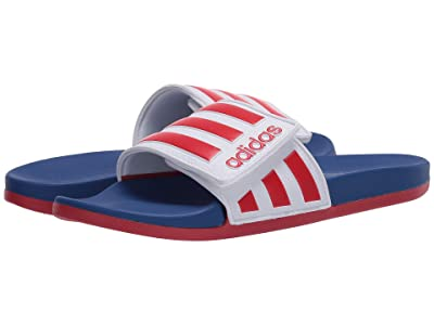 adidas Adilette Comfort ADJ (Footwear White/Scarlet/Team Royal Blue) Men
