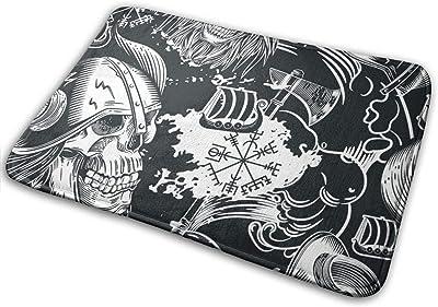 Skulls Viking Helmets Skull People Door Mat Rug Indoor/Front Door/Shower Bathroom Doormat, Non-Slip Doormats, 23.6 X 15.8 Inch