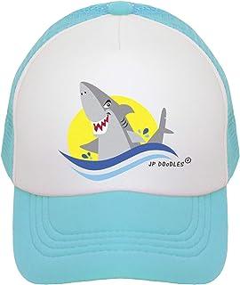 JP DOoDLES Shark Hat Kids Trucker Hat. Baseball Mesh Back Cap fits Baby, Toddler and Youth