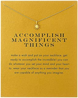 Sun Y Necklace Friendship Anchor Unicorn Elephant Flower Pendant Chain Necklace with Meaning Card