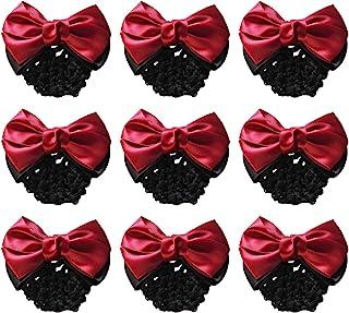 MOTZU 9 Pieces Bowknot Snood Net Barrette Hair Clip Bun Cover Hairnet Lace Bow Decor for Woman, Red