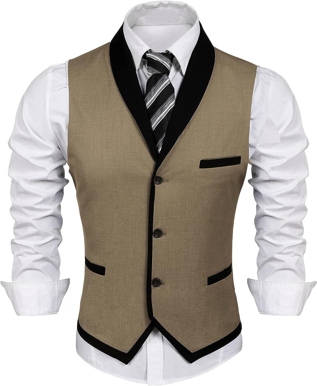 Houston Mall COOFANDY Men's Suit Mail order cheap Vest Slim Fit Wedding Dress W Business Vests