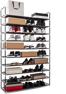 Meerveil Étagère à Chaussures à 10 Niveaux, Tissu Non tissé, Porte-Chaussures en Metal, pour 50 Paires de Chaussures, Orga...