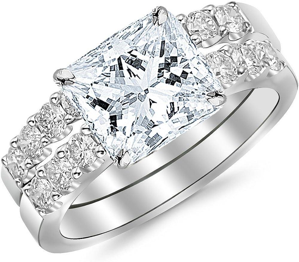 14K Gifts White Gold 1.51 CTW Princess Set Classic Cut Gorgeous Prong Bridal Se