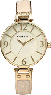 Anne Klein Women's AK/2210IMGB Gold-Tone and Ivory Marbleized Bangle Watch
