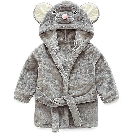 S/äugling Kleinkind Flanell Fleece Kapuze Bademantel mit Ohren Unisex Baby Bademantel grau, 73//3-6 Monate