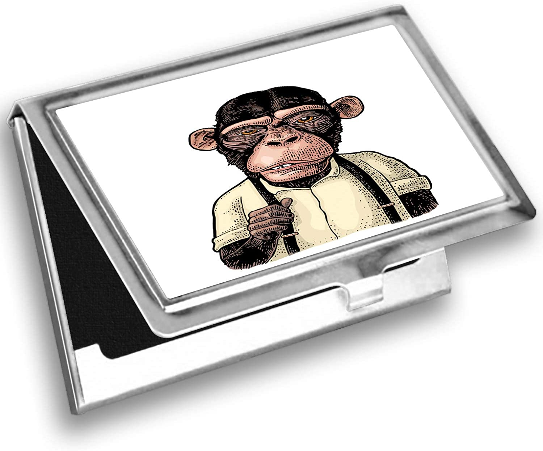 Lunarable Ape Card Holder, Funny Monkey in Shirt Suspender, Metal Card Wallet
