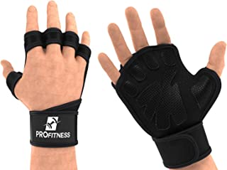 ProFitness Cross Training Gloves with Wrist Support Non-Slip Palm Silicone Padding to Avoid Calluses | for Weight Lifting, WOD, Powerlifting & Gym Workouts | Ideal for Both Men & Women