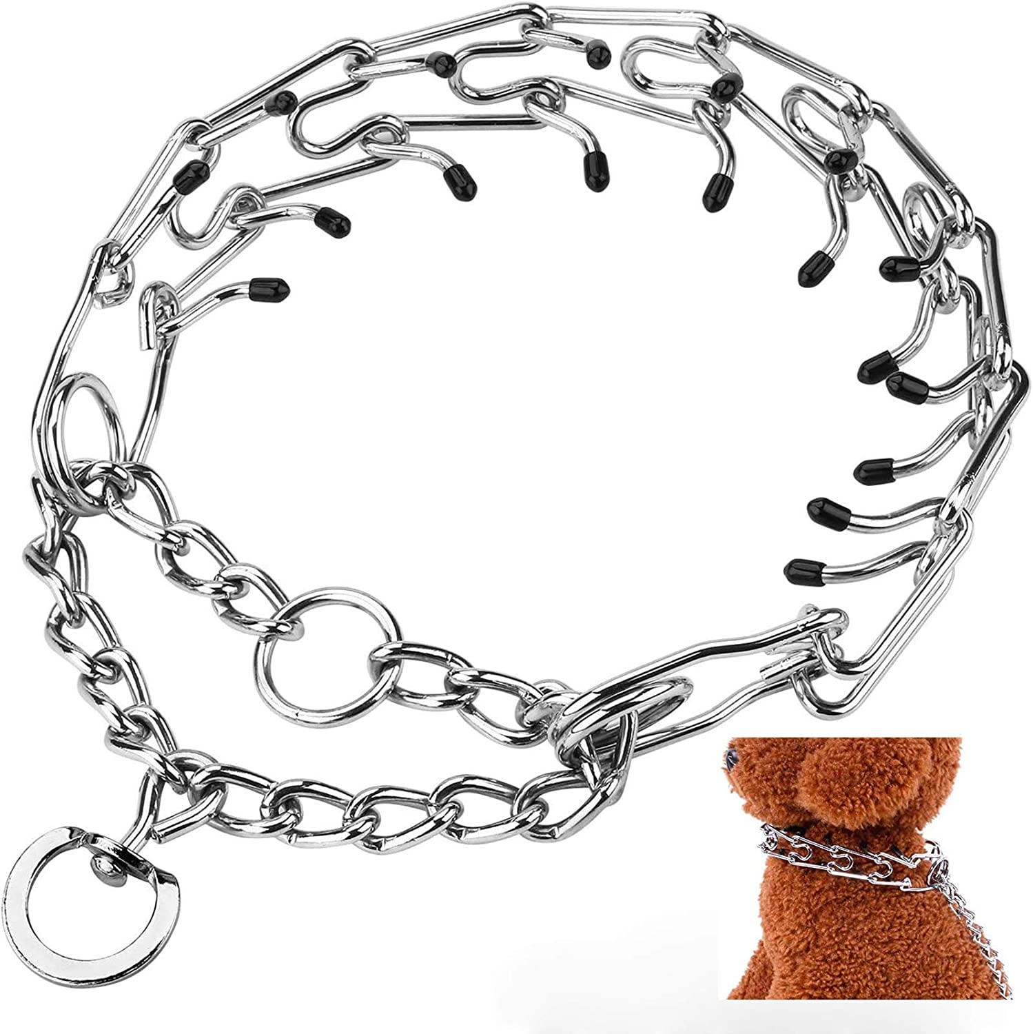 Adjustable Stainless Steel with Comfort Rubber Tips,Safe and Effective Nexsol Dog Prong Training Collar S