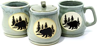 Porcelain Coffee Set w/Bear Mural - Mug, Sugar Bowl, Creamer (Light Blue)