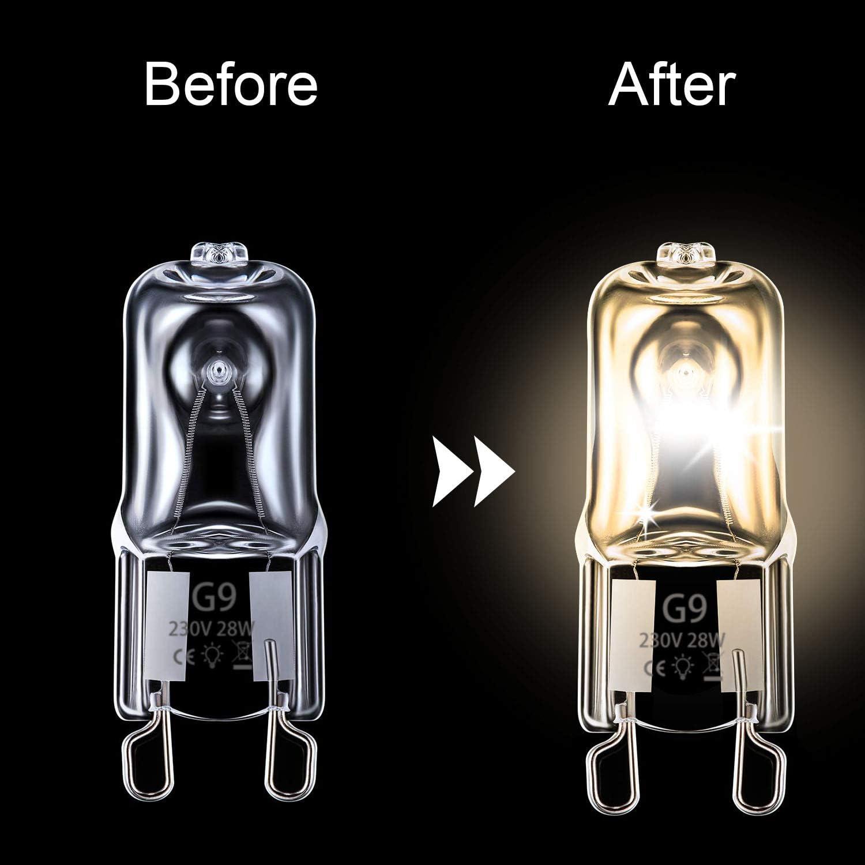 Dimmable Vicloon G9 Halogen Bulbs 5 Pcs 2 pin G9 Capsule Bulb 2800K Warm White Energy Class C 360 Degrees Beam Angle Energy Saving Lamp 28W G9 Light Bulbs 230V 370lm