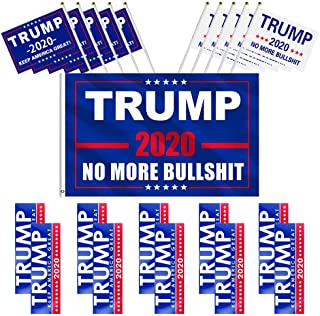 YBB Donald Trump 2020 Flag Set, 3x5 Feet Donald Trump President Flag with 10 Pieces Bumper Car Stickers and 10 Pieces Hand Held Flags, Keep America Great Flag for Supporting President