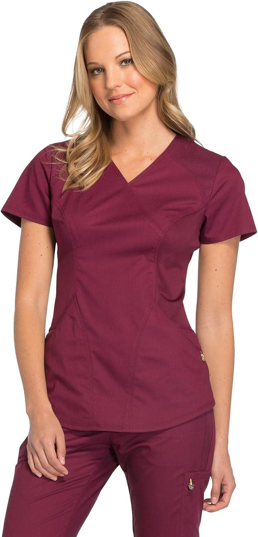 Cherokee Womens Luxe Sport Mock Wrap Top Medical Scrubs Shirt