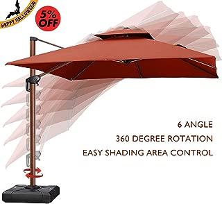 PURPLE LEAF 10 Feet Double Top Deluxe Wood Pattern Square Patio Umbrella Offset Hanging Umbrella Outdoor Market Umbrella Garden Umbrella, Brick Red