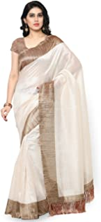 Rajnandini Women's Tussar Silk Plain Saree(JOPLNB3002_Free Size)