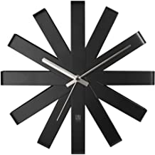 "Umbra 118070-040 Ribbon Modern 12-inch, Battery Operated Quartz Movement, Silent Non Ticking Wall Clock, Black Decor, 12"" ..."