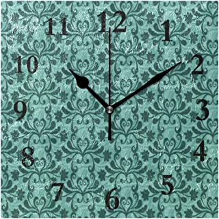 DERTYV Personalized Non Ticking Silent Clock Art Living Room Kitchen Bedroom for Home Decor Free Vector Teal Western Flourish Pattern Square Acrylic Wall Clocks