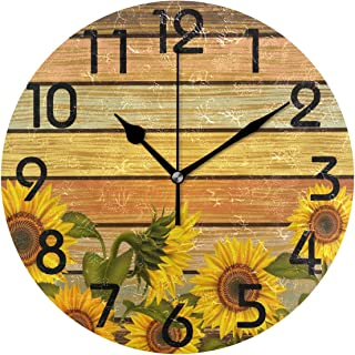 Naanle Beautiful Sunflowers on Varicolored Wooden Board Print Vintage Round Wall Clock Decorative, 9.5 Inch Battery Operated Quartz Analog Quiet Desk Clock for Home,Office,School