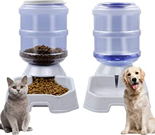 DR.DUDU Cat Dog Automatic Feeding Dispenser & Water Bowl - Large Capacity Automatic Feeding Food Water Dispenser Drinking ...