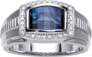 Men's Platinum over Sterling Silver Rectangular Shaped Created Ceylon and Synthetic White Sapphire Ring