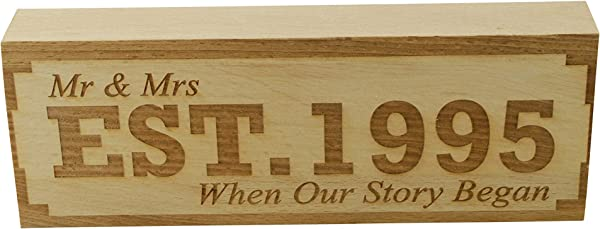 Pirantin EST 1995 23rd Anniversary Sign Mr Mrs Established 1995 When Our Story Began Free Standing