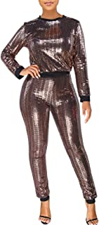 Womens Two Piece Outfits Sequin Long Sleeve Crop Tops Long Pants Sweatsuits Tracksuits Set