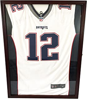 DECOMIL - Ultra Clear UV Protection Baseball/Football Jersey Frame Display Case Shadow Box, Cherry