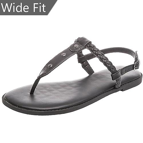48c6078b4369 Aukusor Women s Wide Width Flat Sandals - Flip Flop Open Toe T-Ankle Strap  Flexible