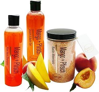 Lashuma Pflegeset Damen Mango - Pfirsich im 3er Set Duschgel & Badezusatz, Shampoo 2 x 250 ml und Badesalz 450 g als Geschenkset