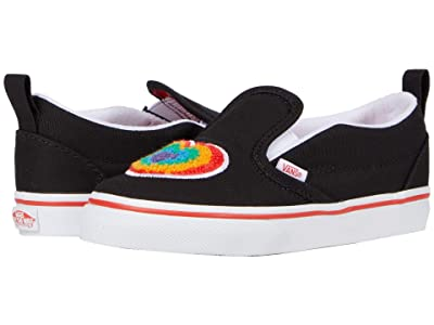 Vans Kids Slip-On V (Infant/Toddler) ((Chenille) Rainbow Heart/True White) Girls Shoes
