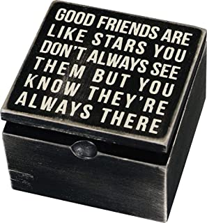 Best Primitives by Kathy 18192 Classic Hinged Wood Box, 4 x 4 x 2.75-Inches, Good Friends Are Like Stars Review
