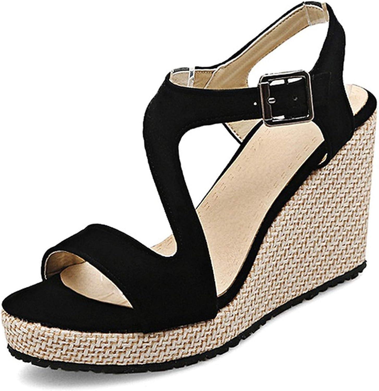 Fairly Wedges Platform Buckle Ladies Summer shoes Classic Fashion shoes Party shoes,Black,3
