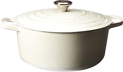 Le Creuset LS2501-2816SS Signature Enameled Cast-Iron Round French (Dutch) Oven, 7-1/4-Quart, White