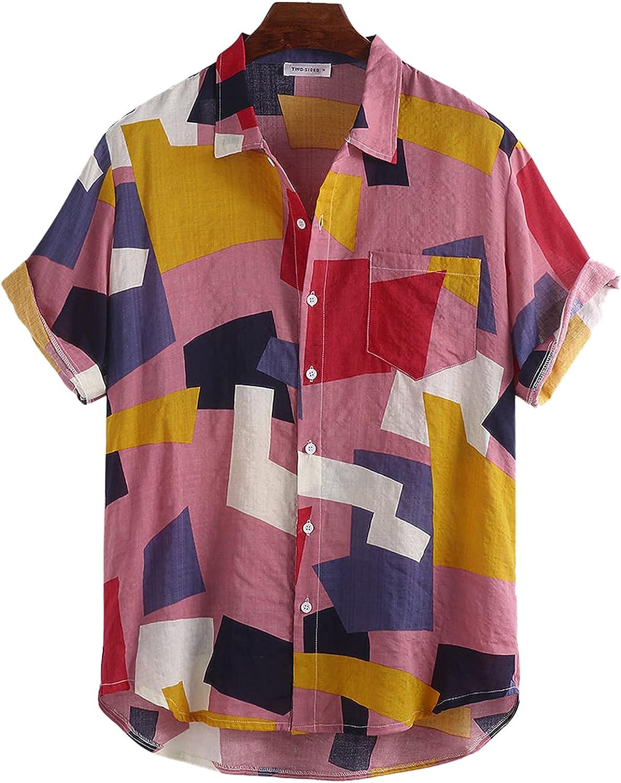Angbater Mens Summer Beach Shirts Short Sleeve Printed Loose Casual Male Button Shirts