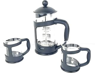 Bialetti Coffee EREITER Set of 2 Mugs, Glass, 30 x 20 x 15 cm 3 Units, Glass, Black, 30.0 x 20.0 x 15.0 cm