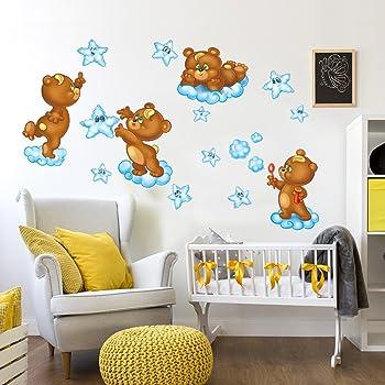 Wandaro Little Deco Sticker Mural Ours sur balan/çoire I A4-21 x 29,7 cm I Sticker Mural Chambre Enfant B/éb/é D/éco Filles Enfants DL166