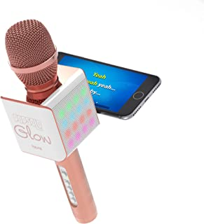 Tzumi PopSolo – Rechargeable Bluetooth Karaoke Microphone and Voice Mixer with Smartphone Holder – Great for All Ages (Rose Gold Glow)