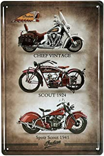 KODY HYDE Póster De Pared Metal - Indian Motorcycle - Cartel De Chapa Vintage Estaño Signo Decorativas Hojalata Placa para Bar Cafe Oficina Habitación Garaje