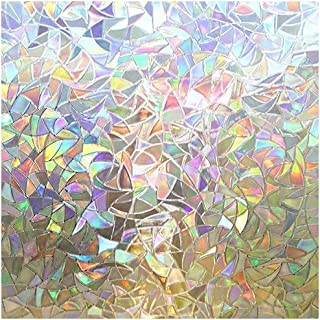 Rabbitgoo 3D No Glue Static Decorative Privacy Window Films for Glass Non-Adhesive Heat Control Anti UV 17.5 x 78.7 inches (44.5 x 200cm)
