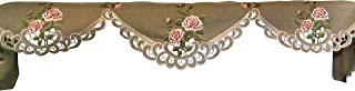 Doily Boutique Fireplace Mantel Scarf with a Pink Rose on Sage Green Burlap Linen Linen Fabric, Size 90 x 19 inches